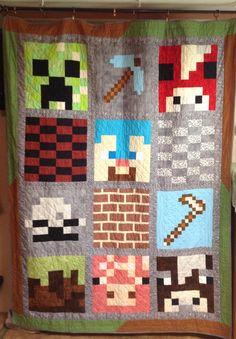Minecraft quilt I made for my Grandson Lucas