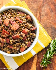 Lentils with Pancetta and Rosemary // wishfulchef.com