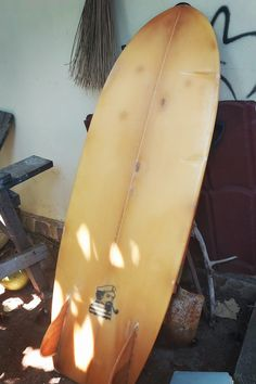 """Surf Plank's lovely 2012 Mini Simmons—the board is 5'4"""". #minisimmons #minisimmonssurfboard #surfing #surfboardshaping #surfboardshaper Plank, Surfboard, Surfing, Mini, Surfboards, Surf, Surfs Up, Planks, Surfboard Table"""
