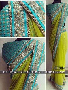Indian Bollywood Style Heavy hand work Beautiful Party Designer Saree Sari 3061