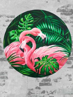 """Round picture, art on canvas acrylic """" Pink flamingos with monsters"""" Foto Flamingo, Flamingo Art, Pink Flamingos, Acrylic Canvas, Canvas Art, Round Canvas, Pottery Painting Designs, Painting Inspiration, Flower Art"""