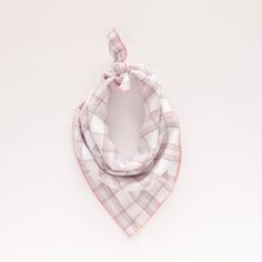 ANNIE. Dog bandana or baby scarf in pink plaid with cream grey pattern and pink trim. Metallic threads. Girly and cute! $30 on Etsy.