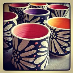 Sgraffito Carved Cups