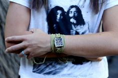 Olive Suede Bracelet Watch with Small Brown Interchangeable Face. $20.00, via Etsy.
