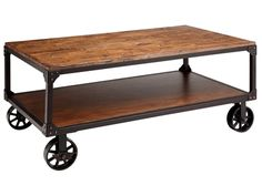 Shop for Stein World Holly Cart Table, 12354, and other Living Room Tables at Stein World in Memphis, TN. The Holly cart table with shelf features a storage shelf below for books and magazines. Fashionable industrial casters and riveted corner brackets add a repurposed vibe to the wood and metal piece finished in Antique Brown.