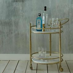 Round Drinks Trolley With Marble Shelves | Graham & Green