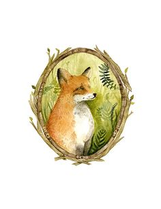 Fox Portrait - Archival Print of original watercolor, woodland, fox art
