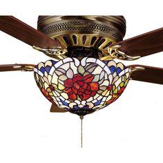 12 Inch W Renaissance Rose Fan Light Fixture