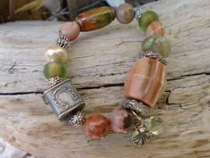 "Anne Choi ""Lucky Cube  ... Bracelet Basha Bead Blown Glass Orange Sardonyx Sterling Green Amethyst Rustic BoHo Luxe Harbor Girl Designs"
