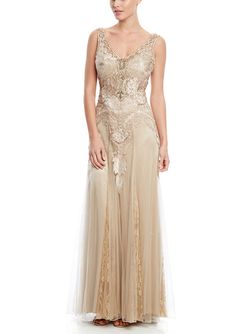 SUE WONG V-Neck Gown with Lace Godet Skirt