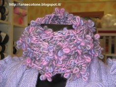Lana e Cotone (maglia e uncinetto): Collo con lana fiore