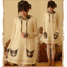 suit-dress Mori GirlLong Tops Autumn Sweet Lolita Lace Plaid Long sleeve Dress #Unbranded