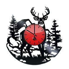 deer horns vinyl record wall clock get unique home room wall decor gift ideas