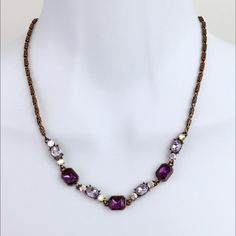Purple Rhinestones Vintage Necklace Beautiful Vintage Purple Rhinestones necklace. Simple statements. Wear on a bare neckline with a purple tank tube top and a black trench long vest. Vintage Jewelry Necklaces