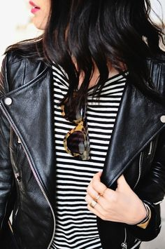 Love the stripes leather and glasses