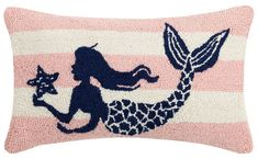 Pink Stripe Mermaid Hook Pillow