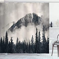 Ambesonne National Parks Home Decor Shower Curtain by, Canadian Smokey Mountain Cliff Outdoor Idyllic Photo Art, Fabric Bathroom Decor Set with Hooks, 70 Inches, Black and White Colorful Shower Curtain, Flower Shower Curtain, Floral Shower Curtains, Shower Curtain Sets, Bathroom Curtains, Unique Shower Curtains, Bathroom Decor Sets, Rental Bathroom, Boho Bathroom