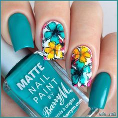 Aycrlic Nails, Hair And Nails, Spring Nails, Summer Nails, Multicolored Nails, Super Cute Nails, Manicure E Pedicure, Flower Nails, Nail Stamping