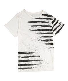 Love this White & Black Distressed Stripe Tee on #zulily! #zulilyfinds