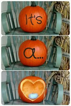 18 Gender Reveal ideas for your next pregnancy. Creative ways to announce if your baby is a boy or girl. Don't miss the chance to celebrate your little one! This one: Halloween/Fall baby reveal. Fall Gender Reveal, Pumpkin Gender Reveal, Halloween Gender Reveal, Gender Reveal Photos, Pregnancy Gender Reveal, Gender Reveal Photography, Gender Party, Baby Gender Reveal Party, Baby Shower Fall