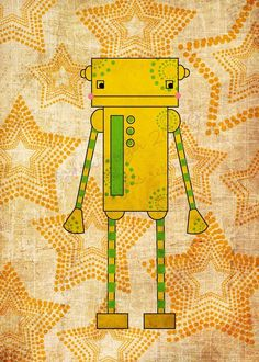 kids robot art - Yellow Robot Art Print - Nursery art prints, baby nursery, nursery decor, nursery wall art, kids art. $10.00, via Etsy.