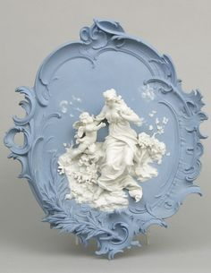 A Blue Wall Plaque Decoration with White Classical Figures, German, ca. Early to Mid 20th Century.