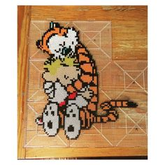 Calvin & Hobbes perler beads by nightofthelivingdread