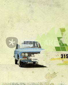 """Blue Car"" Graphics/Illustration art prints and posters by Kareem Rizk - ARTFLAKES.COM"
