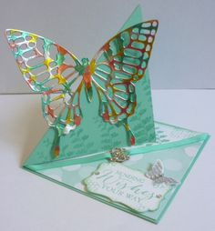 Triangle Easel Card using the Butterfly Thinlets and Stampin' Up! Butterfly Basics stamp set. Find out how to make one here. https://astampingjourney.wordpress.com/2015/02/15/esad-2015-occasions-and-sale-a-bration-blog-hop/