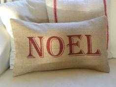 Noel burlap Christmas pillow cover by TheNestUK