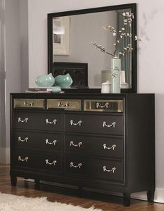 Wildon Home ® 9 Drawer Dresser with Mirror Low Dresser, Black Dressers, Small Dresser, 9 Drawer Dresser, Dresser With Mirror, Mirror Set, Beveled Mirror, Dresser Ideas, Double Dresser