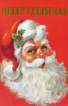 Merry Christmas Santa! Vintage Christmas Card. Retro Christmas Card.