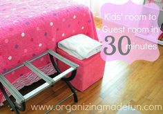How to Get a Guest Room Ready in 30 Minutes or Less! How to Get a Guest Room Ready in 30 Minutes or Less from Becky of Organizing Made Fun. Kids Room Organization, Organization Hacks, Household Organization, Kids Corner, Girls Bedroom, Bedroom Ideas, Bedrooms, Home Hacks, Getting Organized