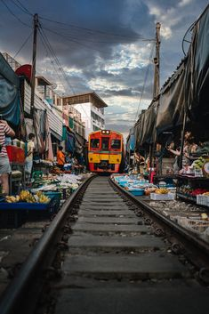 Train market in Thailand Thailand, Times Square, Train, Marketing, Temples, Zug, Strollers