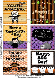Freebie -  Do you have our Halloween Lunchbox Notes yet? It's October now and you'll want to have these for the kid's lunchbox.