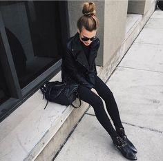 "thestylexplorer: "" Leather jacket >> Skinny pant >> Shoes >> Sunglasses >> """