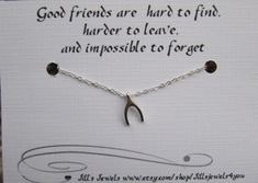 Tiny Wishbone Necklace and Friendship Quote Inspirational Card- Bridesmaids Gift - Small Horseshoe - Quote Gift via Etsy
