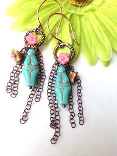 Turquoise Goddess Earrings Czech Goddess Earrings Fertility Jewelry Rebirth by Lyrisgems by lyrisgems on Etsy