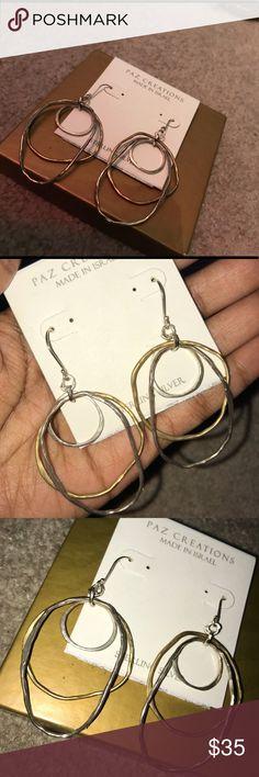 Gold and Silver Artsy Earrings Classy Dangle Earrings paz creations Jewelry Earrings