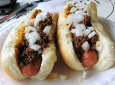 A pair of Coney Island's hot dog with their signature all-meat chili sauce in Galesburg.