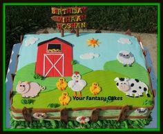 farmhouse+fun+shower+sheet+cakes | Farm Themed Cake, Fondant Cow, Pig, Sheep-Farm themed cake, Fondant ...