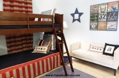 Classic boy's bedroom with bunkbeds.  Boy's room designed by Jaana T. Moisio of Palm Beach Tots Interiors. #easternaccents