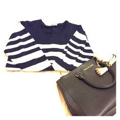 Navy and white striped Sweater It's a good sweater to match. Navy and white stripes; 100% acrylic. Sweaters Crew & Scoop Necks