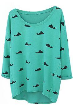 abaday Asymmetric Whale Print Long Sleeves Blue T-shirt - Fashion Clothing, Latest Street Fashion At Abaday.com