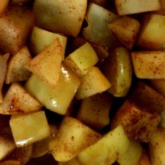 Cinnamon apples: 1 chopped apple, cinnamon to taste, splash of apple juice (I used chai concentrate tonight), your choice of sweetener (brown sugar is a great choice) and microwave for 1:30! Easy, simple, sweet healthy treat:)