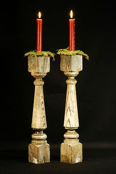 Antique Wooden Baluster Candle Holder Pair Architectural Salvage Wood