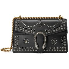 Gucci Dionysus Studded Shoulder Bag ($2,765) ❤ liked on Polyvore featuring bags, handbags, shoulder bags, black, genuine leather handbags, top handle bags, shoulder handbags, gucci purses and leather handbags