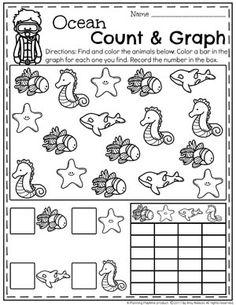Preschool Graphing Worksheets - Ocean Theme #preschool #oceantheme #preschoolactivities #preschoolworksheets #planningplaytime