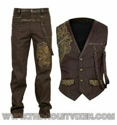 The Groom's suit with steampunk inspired detail.