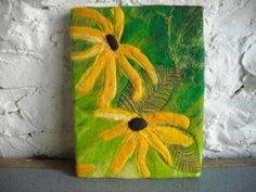 felt picture abstract flowers fiber art wall by SueForeyfibreart, $69.00
